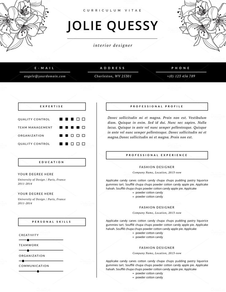 Fashion Resume Templates   jmckell.Com