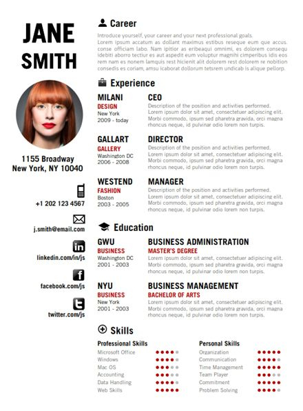 Find The Red Creative Resume Template On cvfolio My Lil with