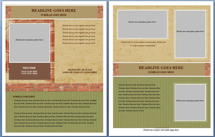 microsoft word real estate flyer template brochure template free
