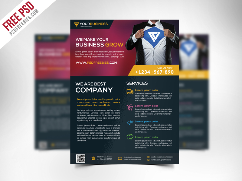 Free Corporate Business Flyer Template PSD | PSDFreebies.com