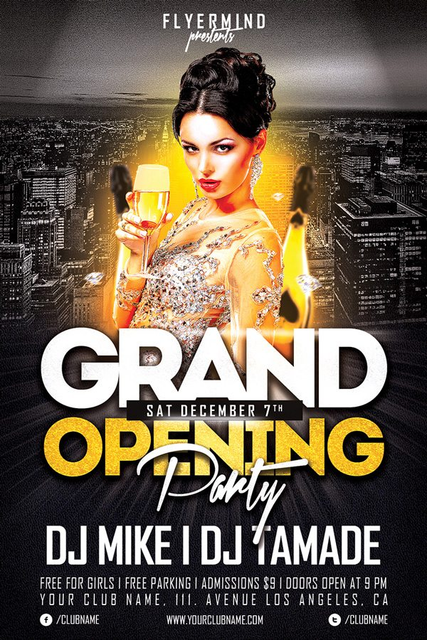 free club flyer templates grand opening party flyer template