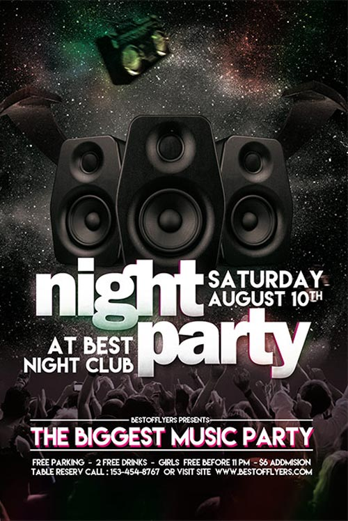 FreePSDFlyer | Party Night Free Club Flyer Template for Club and