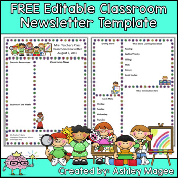 free newsletter template for your classroom this editable