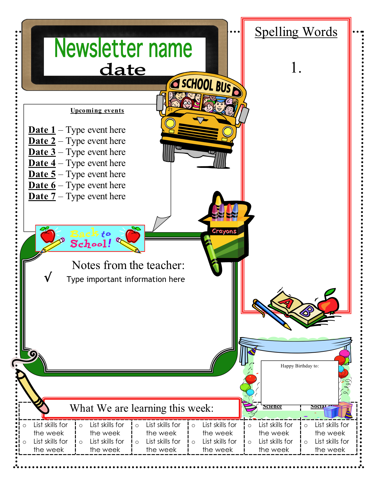 Free School Newsletter Templates For Word Free Newsletter