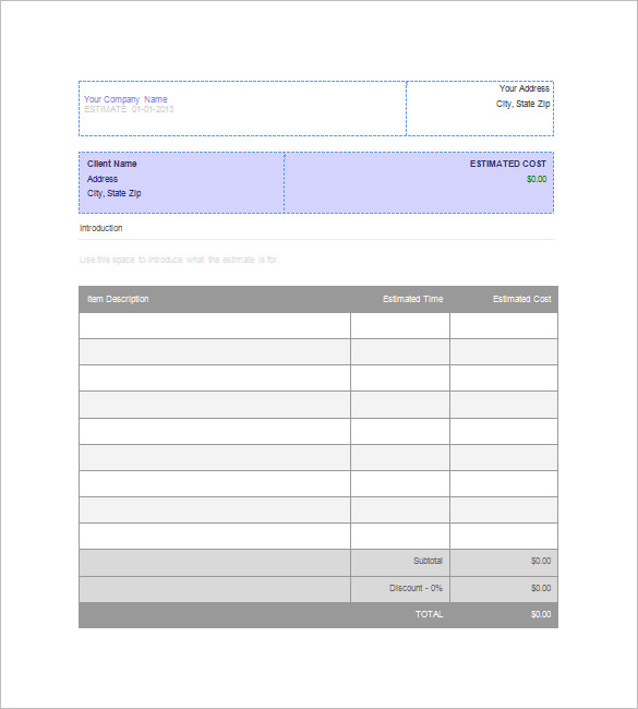 Printable Job Estimate Forms | job estimate Free Office Form