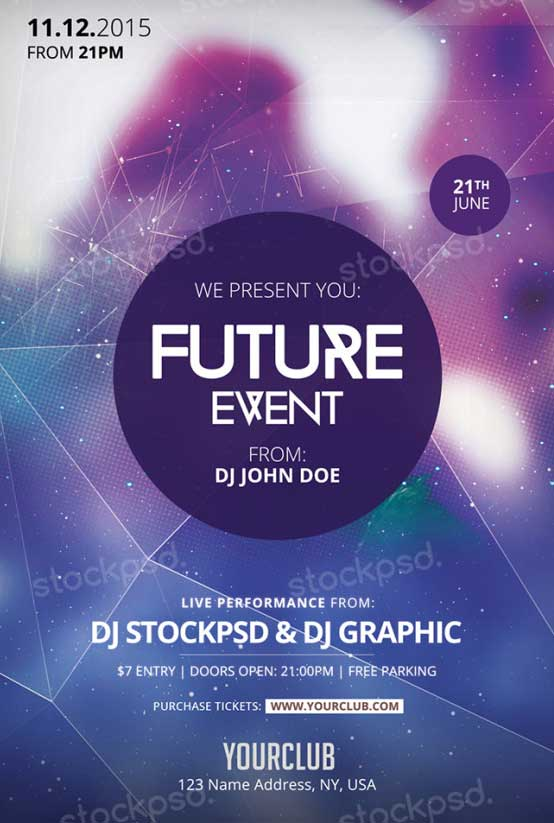 free event flyer templates download future event free psd flyer