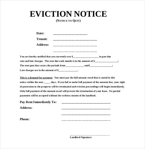 Copy Of An Eviction Notice Oloschurchtp.Free Image Template