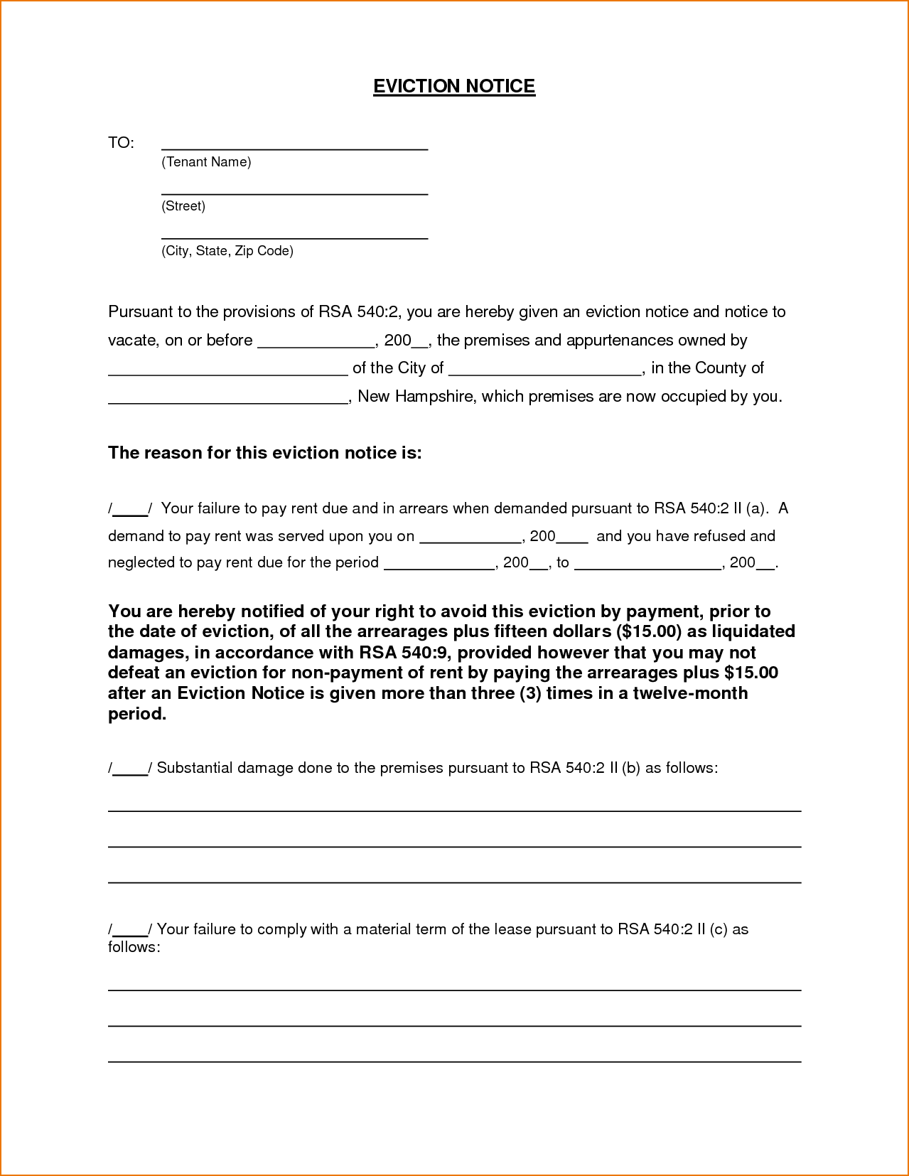 Free Eviction Letter Template As Letter Template From Landlord To