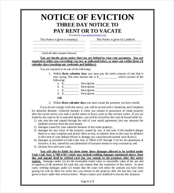 Eviction Notice Template 31 Free Word Pdf Document Free Free