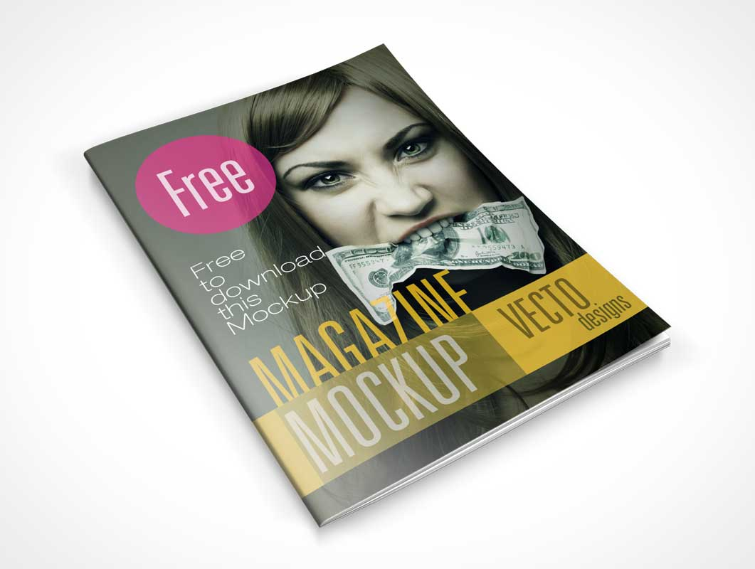 Open Magazine and Cover Mockup | MockupWorld