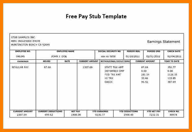 free pay stub template word   Joli.vibramusic.co