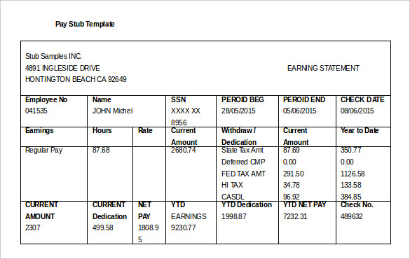 25 Great Pay Stub Paycheck Stub Templates Pay Stub Forms | The