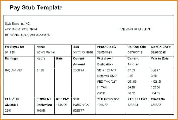 Direct Deposit Pay Stub Template   FREE DOWNLOAD