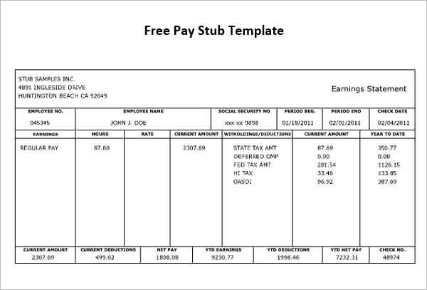 pay stub template microsoft pay stub template microsoft