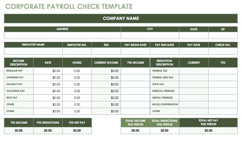 Free Payroll Checks Templates Check Part 4 Online Template