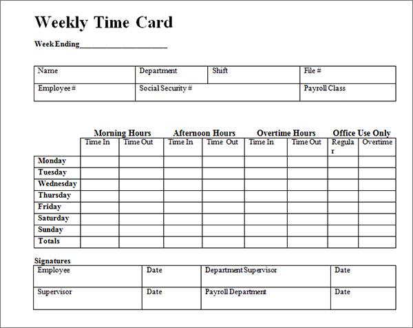 free printable time card template
