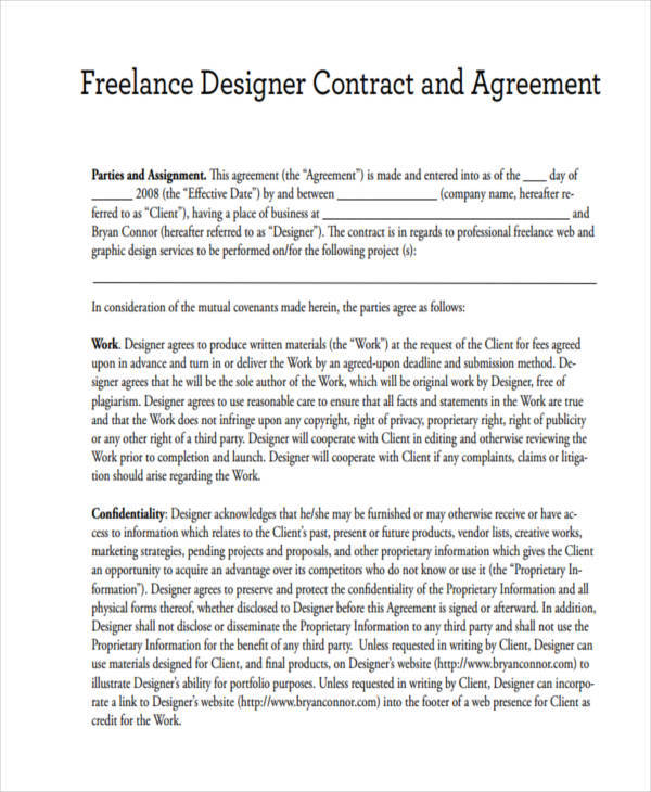 freelance graphic design contract