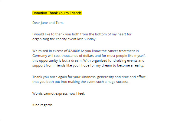 Donation Thank you Letter   6+ Free Word, PDF Documents Download