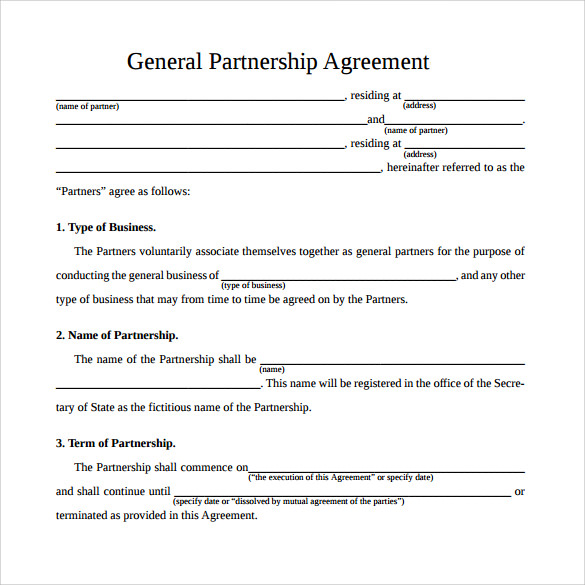 general partnership agreement template sample general partnership