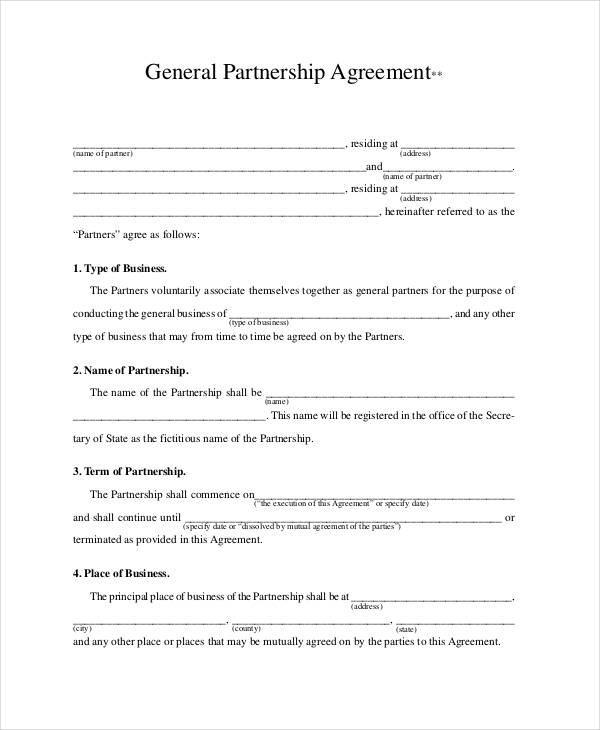 partnership template agreement general partnership agreement 9