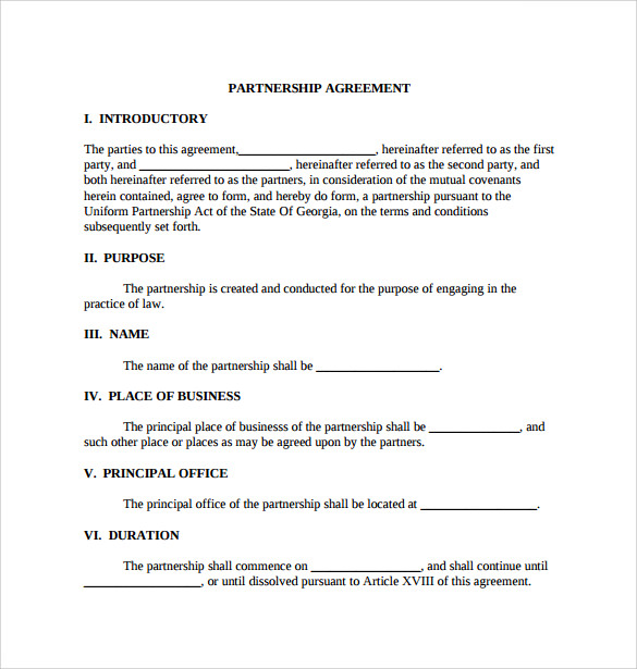 12+ Sample General Partnership Agreement Templates | Sample Templates