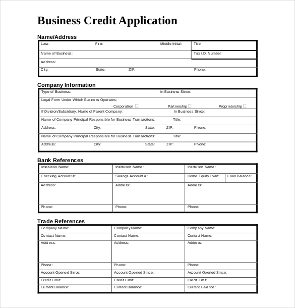 business credit application form template business credit