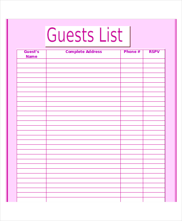 wedding reception guest list template   Maggi.locustdesign.co