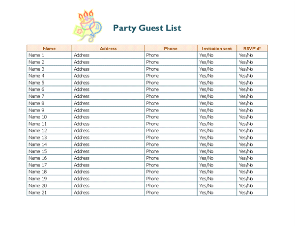 Guest List Templates   9+ Free Word, PDF Documents Download | Free