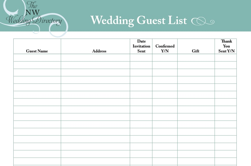 printable wedding guest list template   Maggi.locustdesign.co