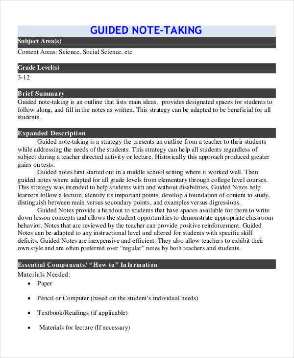 Guided Note Templates   6 Word, PDF Format Download | Free