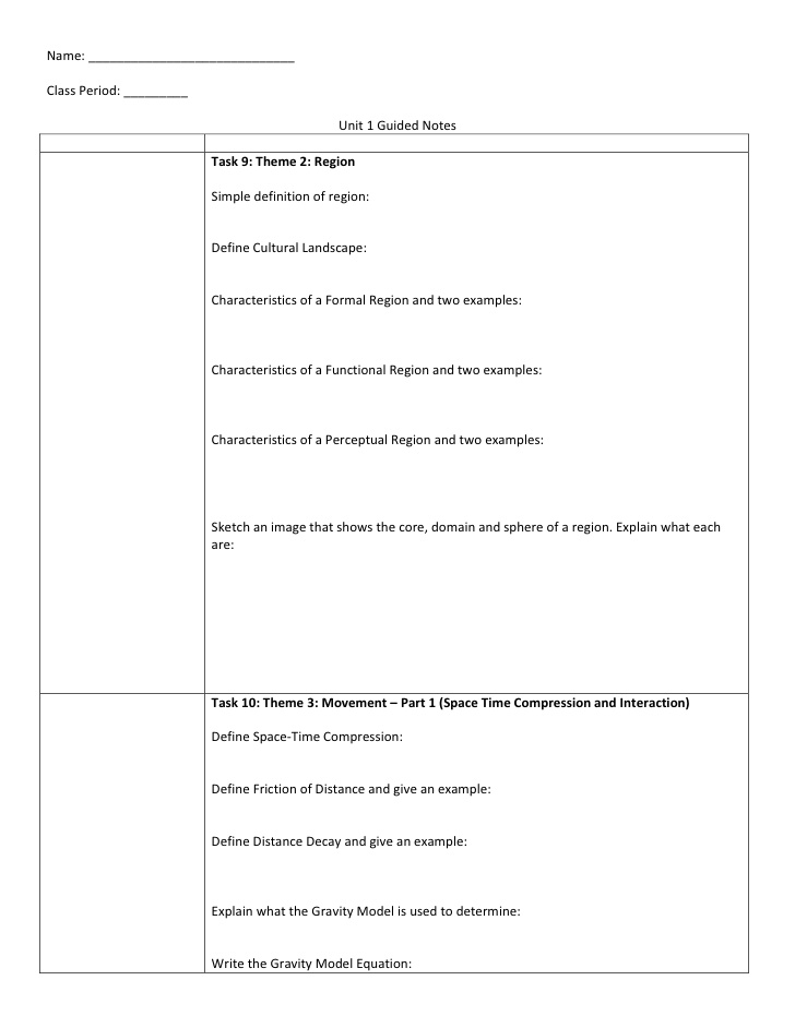 Guided note template fitted screenshoot ap human geography unit 1