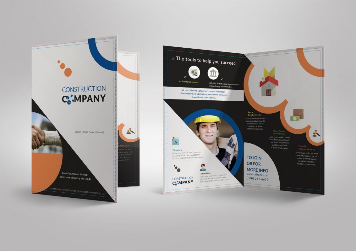 Half Fold Brochure template for Construction Company Stationary