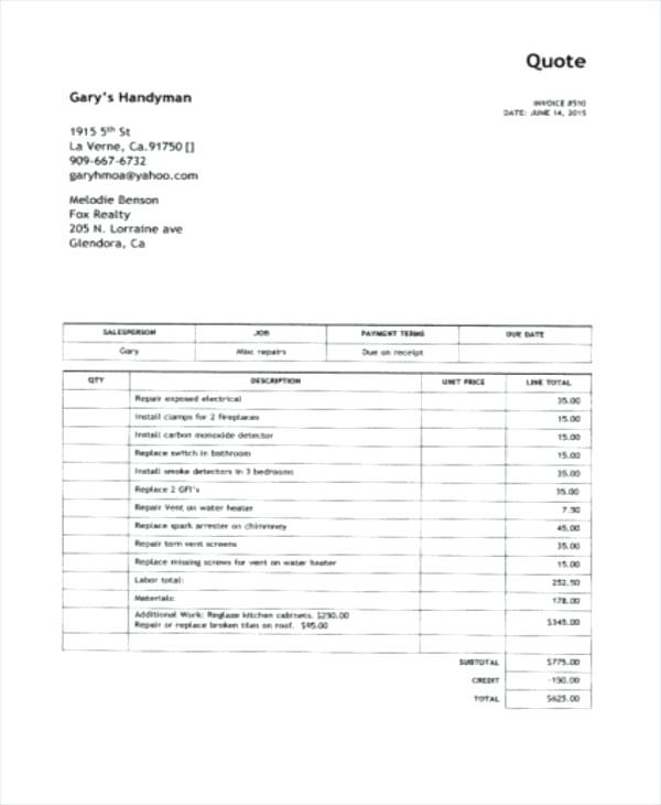 Handyman Invoice Forms Example Invoice Template Printable Handyman