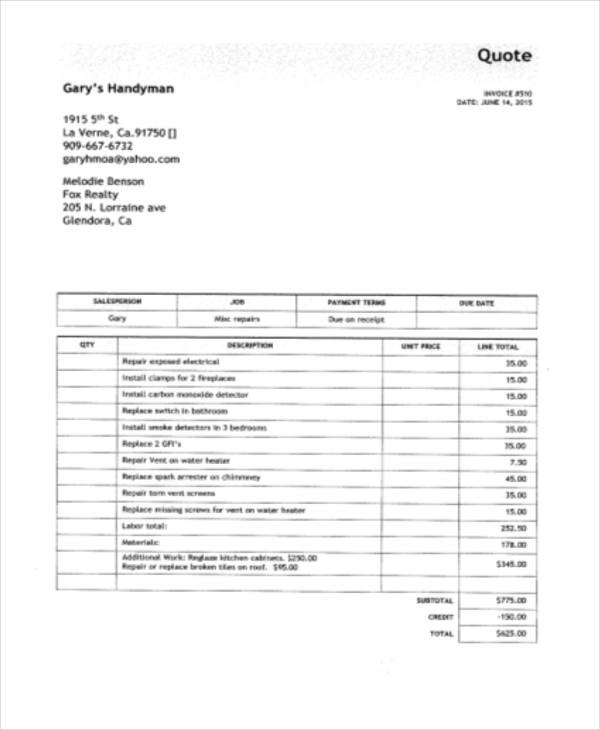 Free Handyman Invoice Template | Excel | PDF | Word (.doc)