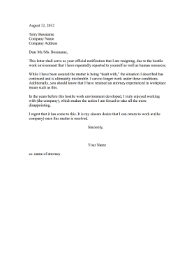 Hostile Workplace Complaint Letter | beneficialholdings.info