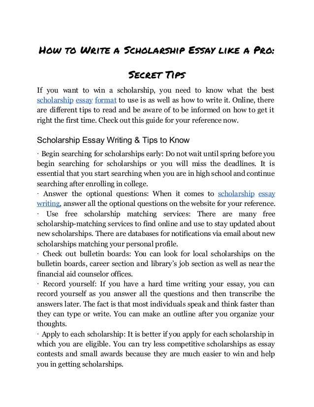 how to format a scholarship essay   Mini.mfagency.co