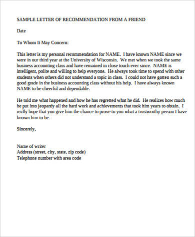 personal letter of recommendation template   Mini.mfagency.co