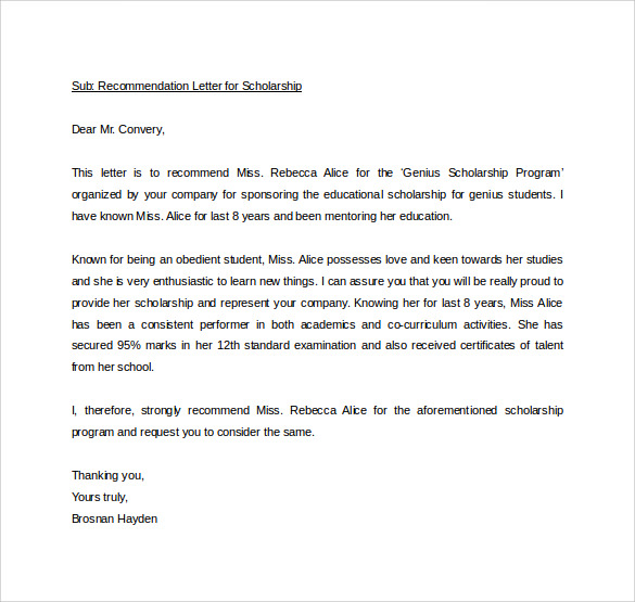 Personal Letter Of Recommendation Sample Personal Letter Of