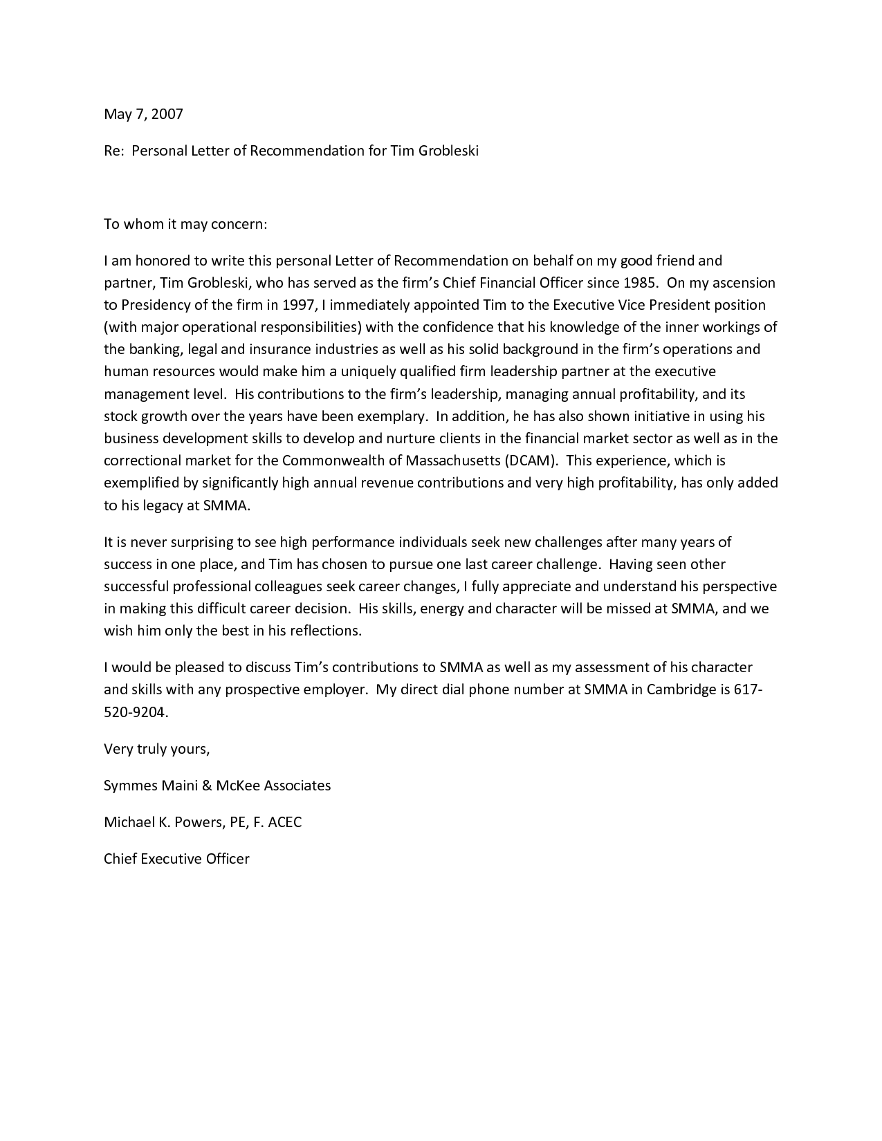 Free Personal Letter of Recommendation Template (For a Friend