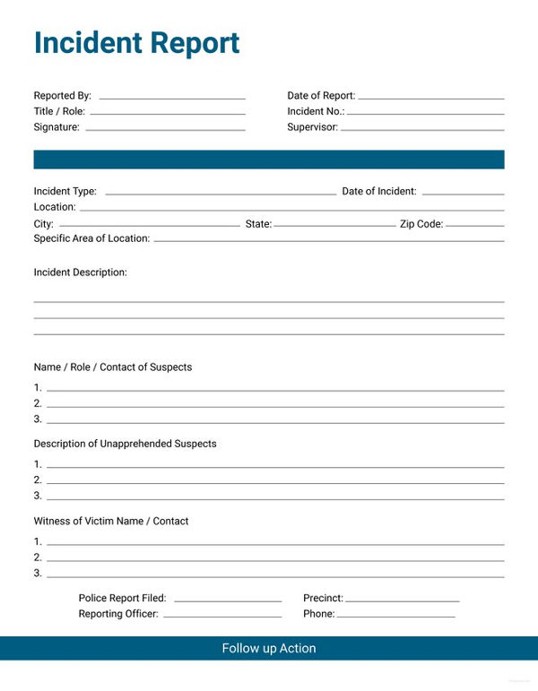 Incident Report Form   10+ Free Word, PDF Documents Download