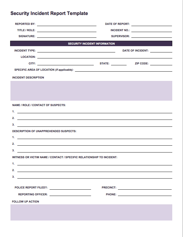 incident report form template word free incident report templates
