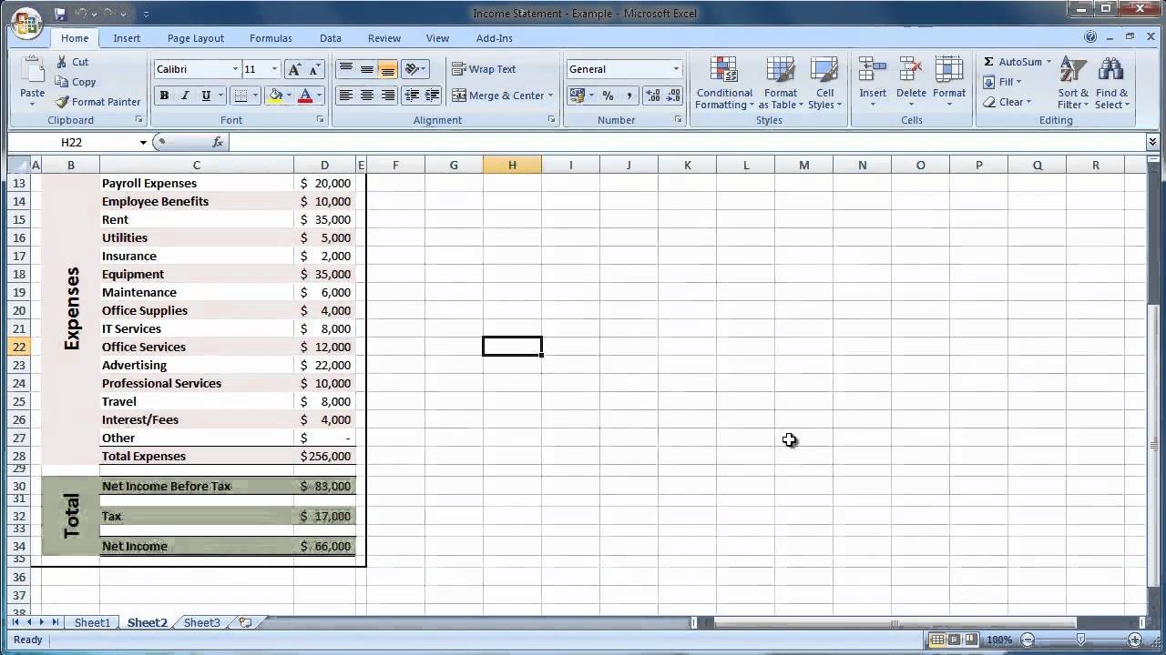 Excel 2007 How to Create an Income Statement Guide   Level 1   YouTube