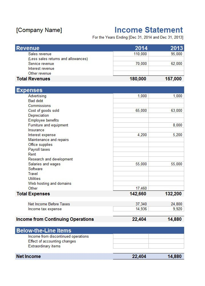 Income Statement Template | My | Pinterest | Statement Template