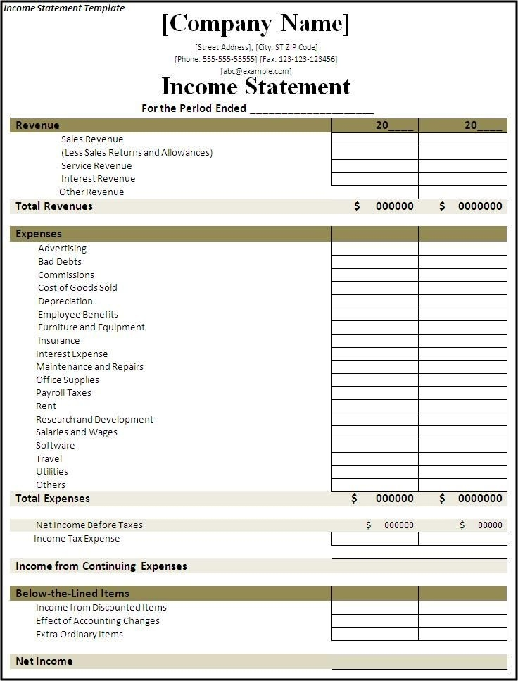 Income Statement Template   Free Annual & Monthly Templates xls