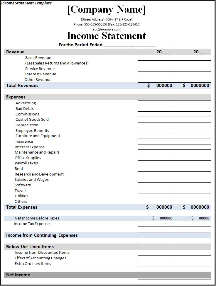Excel Income Statement 7 Free Documents Download Blank Template