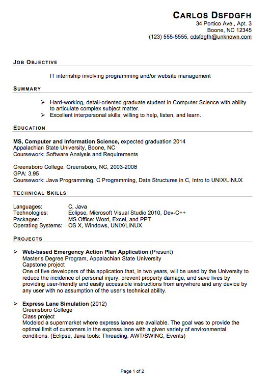 Intern Resume Template Functional Sample For On Broadcast