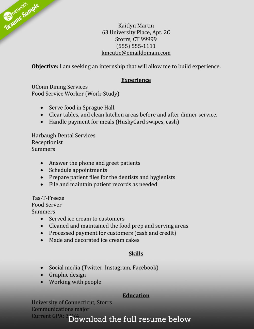 How to Write a Perfect Internship Resume (Examples Included)