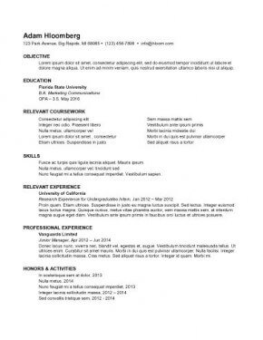 Resume For Internship Sample – Best Resume Template
