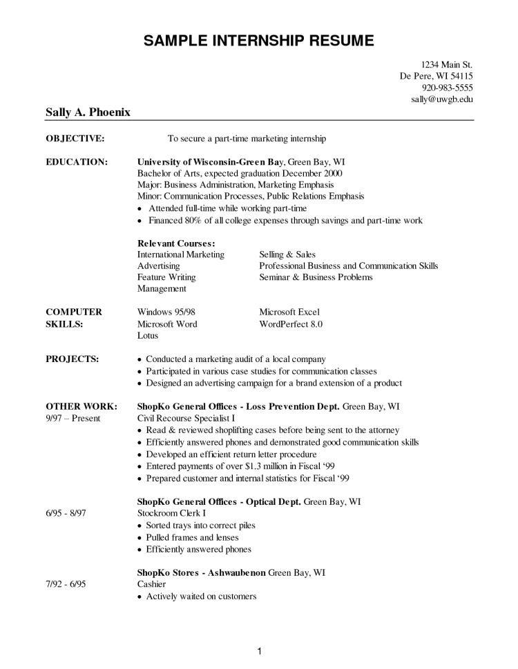 Sample Internship Resume 10 Grad   techtrontechnologies.com