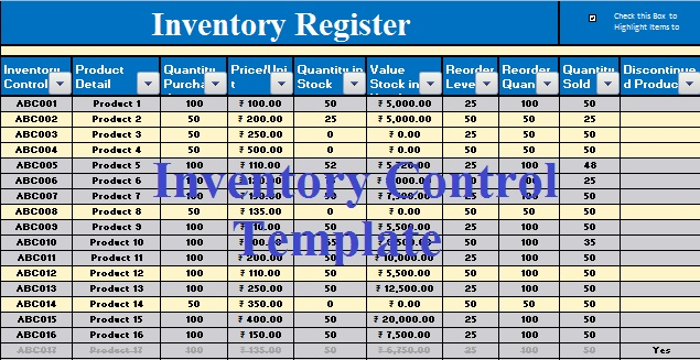 Download Inventory Control Excel Template   ExcelDataPro